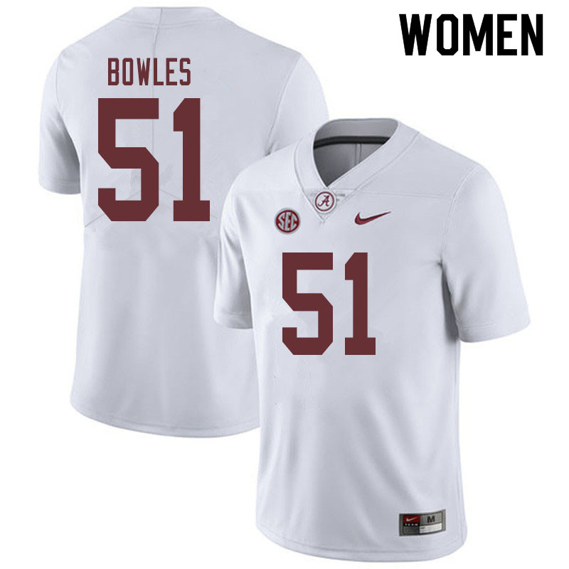 Women #51 Tanner Bowles Alabama Crimson Tide College Football Jerseys Sale-White