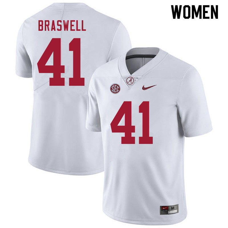Women #41 Chris Braswell Alabama White Tide College Football Jerseys Sale-White