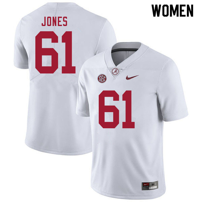 Women #61 Nathan Jones Alabama White Tide College Football Jerseys Sale-White