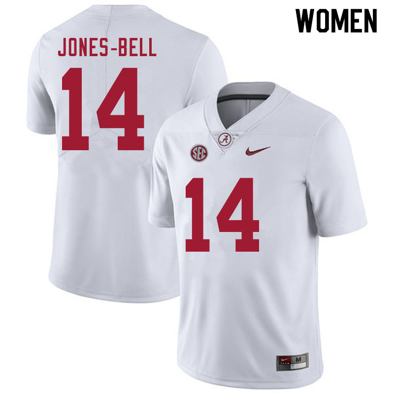 Women #14 Thaiu Jones-Bell Alabama White Tide College Football Jerseys Sale-White