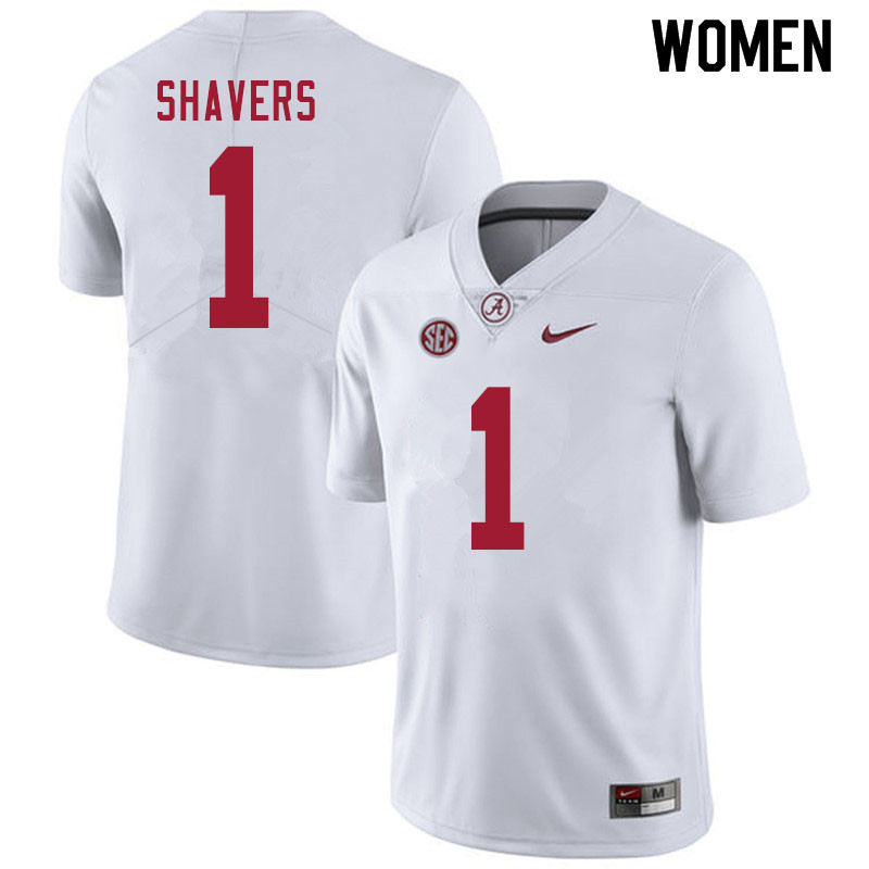 Women #1 Tyrell Shavers Alabama White Tide College Football Jerseys Sale-White