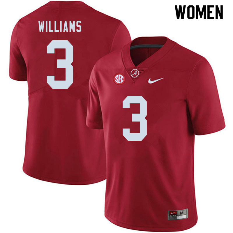 Women #3 Xavier Williams Alabama Crimson Tide College Football Jerseys Sale-Crimson
