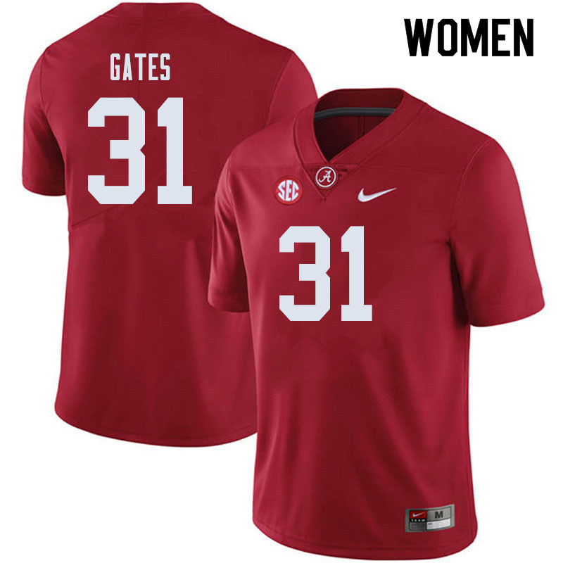 Women #31 A.J. Gates Alabama Crimson Tide College Football Jerseys Sale-Crimson