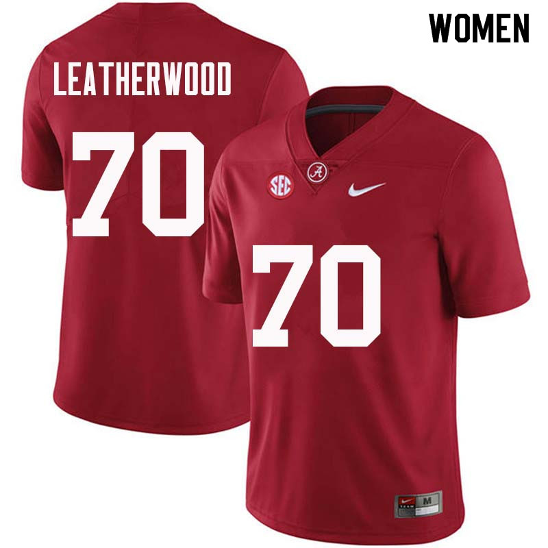 Women #70 Alex Leatherwood Alabama Crimson Tide College Football Jerseys Sale-Crimson