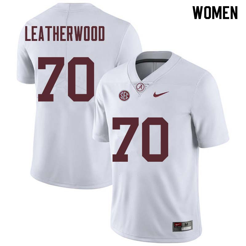 Women #70 Alex Leatherwood Alabama Crimson Tide College Football Jerseys Sale-White