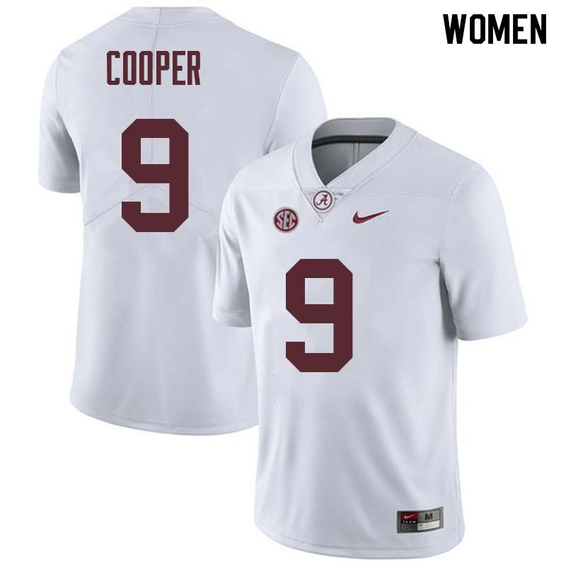 Women #9 Amari Cooper Alabama Crimson Tide College Football Jerseys Sale-White