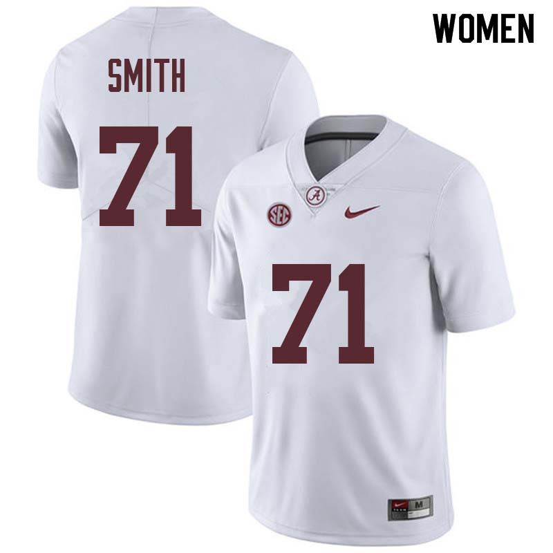 Women #71 Andre Smith Alabama Crimson Tide College Football Jerseys Sale-White