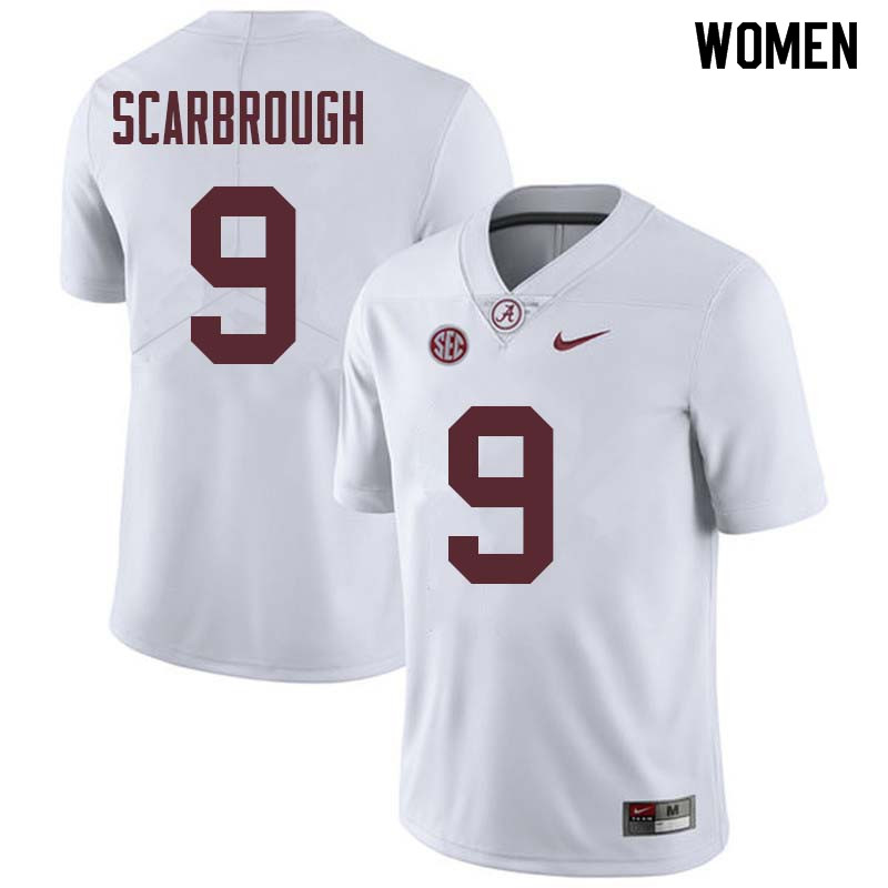Women #9 Bo Scarbrough Alabama Crimson Tide College Football Jerseys Sale-White
