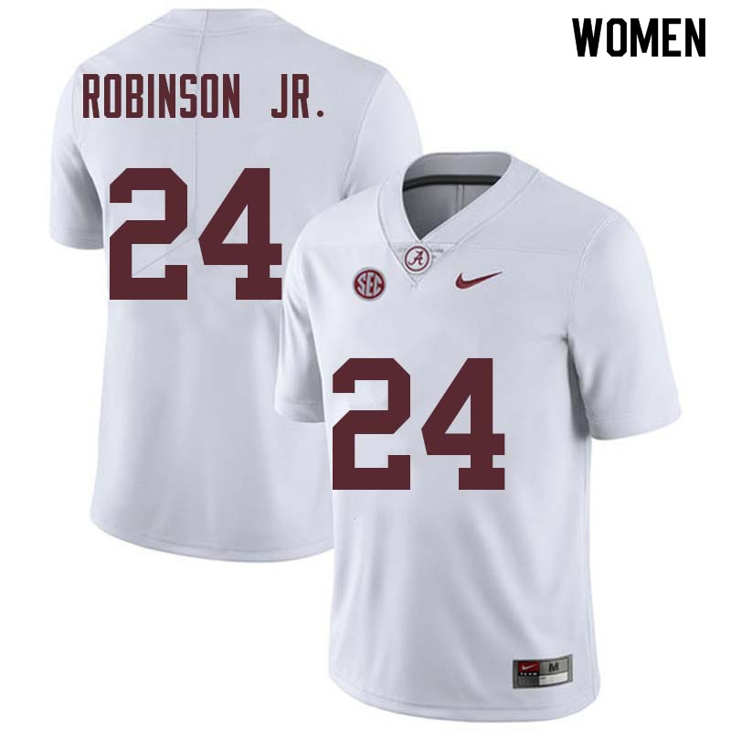 Women #24 Brian Robinson Jr. Alabama Crimson Tide College Football Jerseys Sale-White