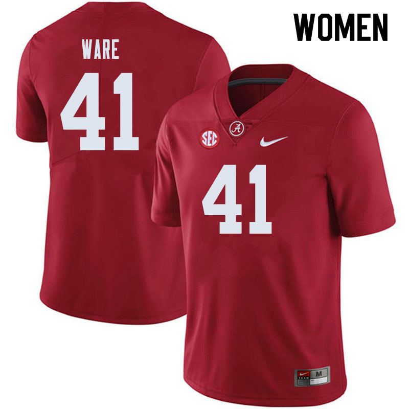 Women #41 Carson Ware Alabama Crimson Tide College Football Jerseys Sale-Crimson