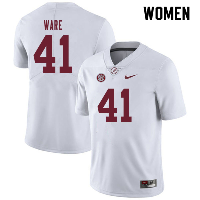 Women #41 Carson Ware Alabama Crimson Tide College Football Jerseys Sale-White