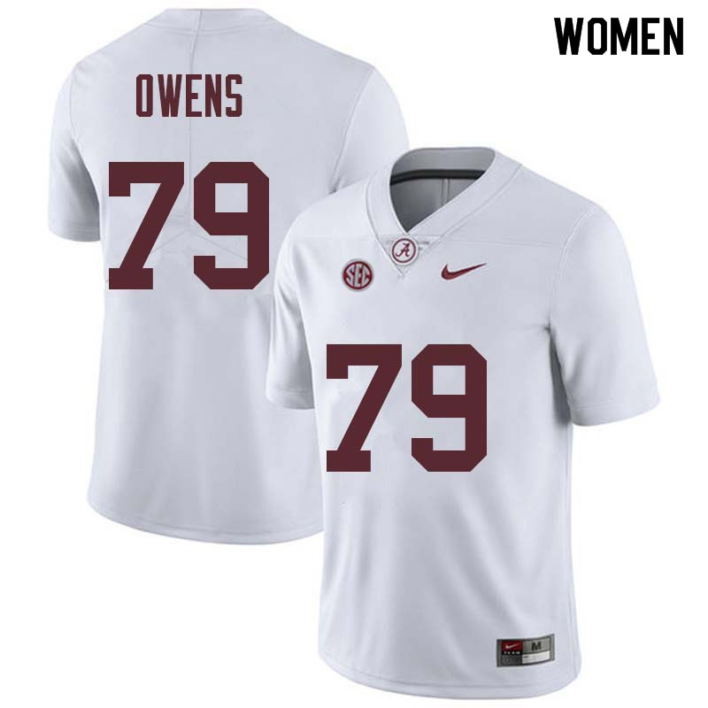 Women #79 Chris Owens Alabama Crimson Tide College Football Jerseys Sale-White
