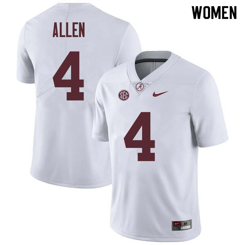 Women #4 Christopher Allen Alabama Crimson Tide College Football Jerseys Sale-White