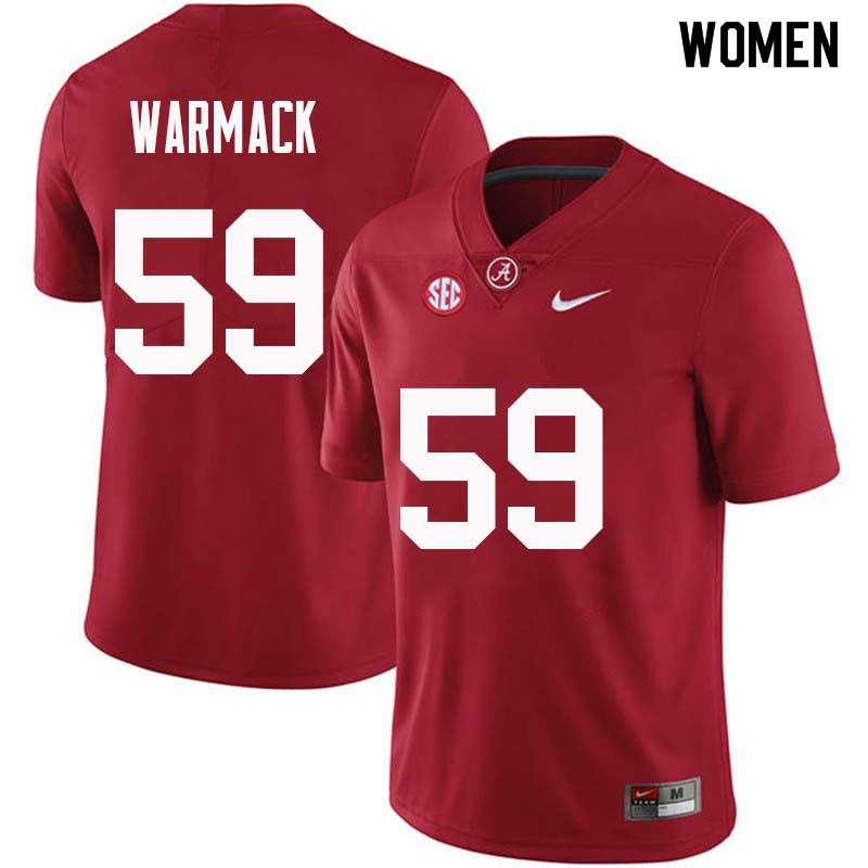 Women #59 Dallas Warmack Alabama Crimson Tide College Football Jerseys Sale-Crimson