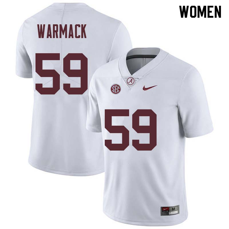 Women #59 Dallas Warmack Alabama Crimson Tide College Football Jerseys Sale-White