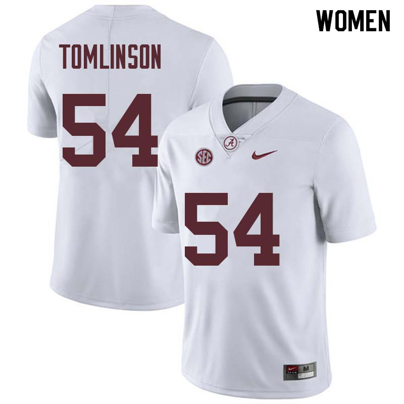 Women #54 Dalvin Tomlinson Alabama Crimson Tide College Football Jerseys Sale-White