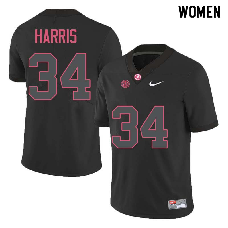 Women #34 Damien Harris Alabama Crimson Tide College Football Jerseys Sale-Black