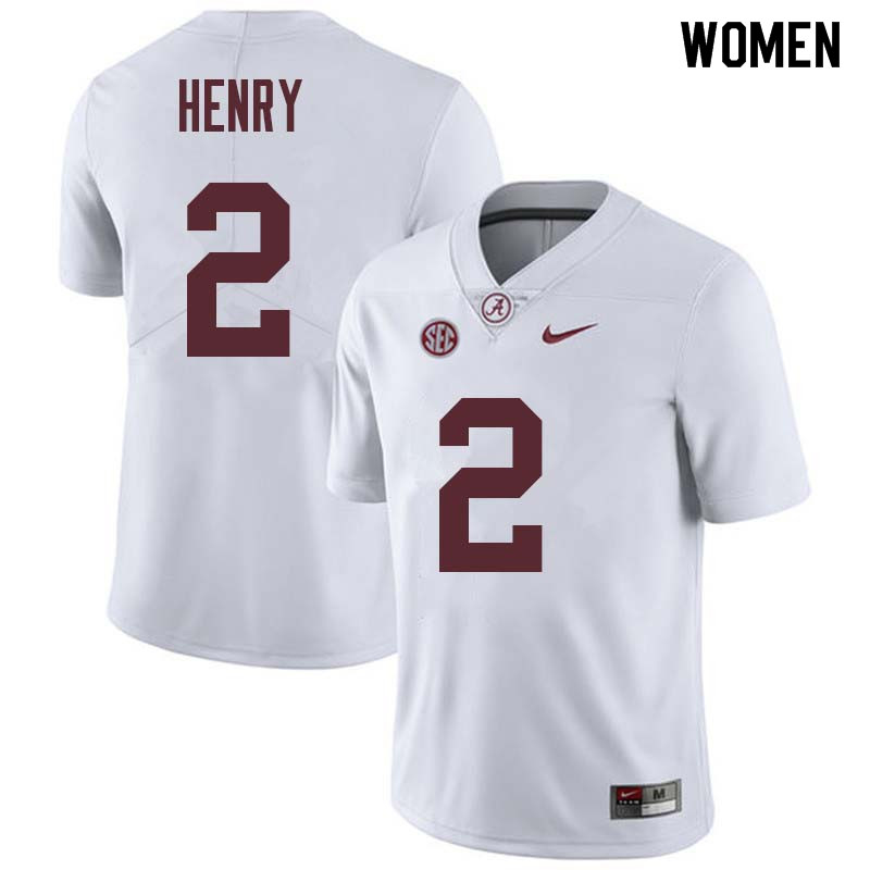 Women #2 Derrick Henry Alabama Crimson Tide College Football Jerseys Sale-White