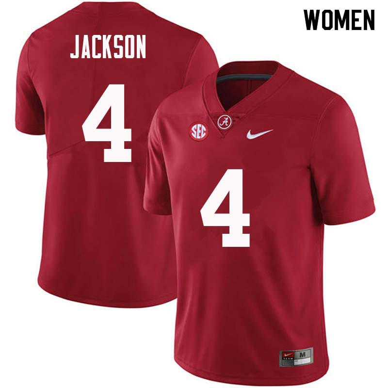Women #4 Eddie Jackson Alabama Crimson Tide College Football Jerseys Sale-Crimson