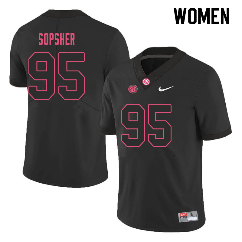 Women #95 Ishmael Sopsher Alabama Crimson Tide College Football Jerseys Sale-Black