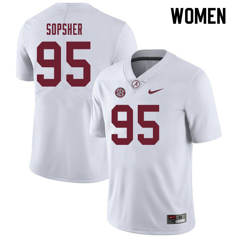 Women #95 Ishmael Sopsher Alabama Crimson Tide College Football Jerseys Sale-White