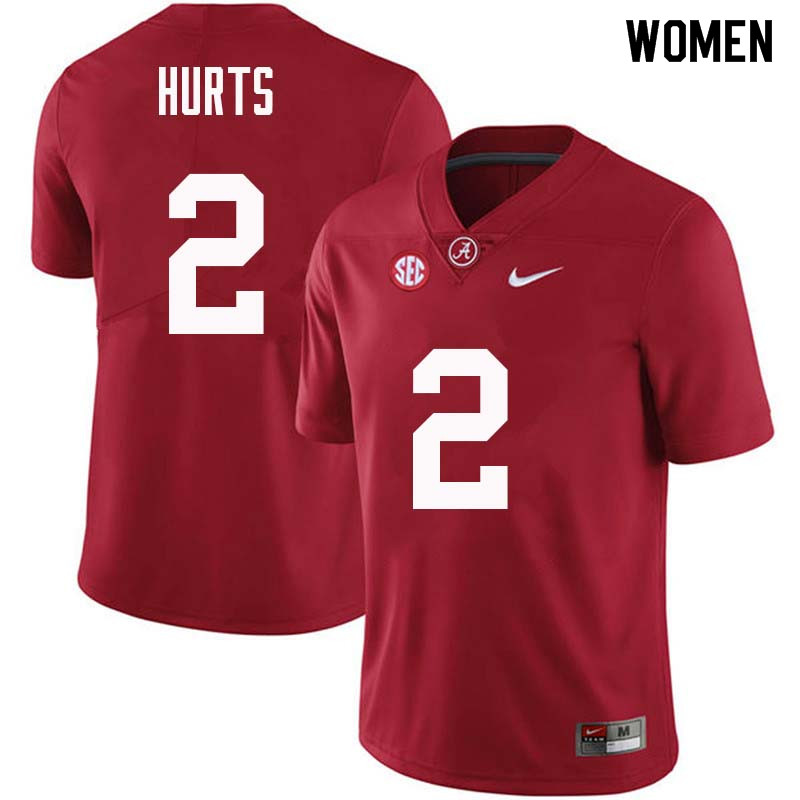 Women #2 Jalen Hurts Alabama Crimson Tide College Football Jerseys Sale-Crimson