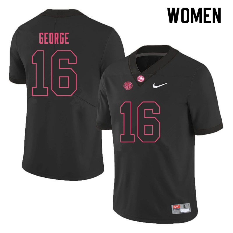 Women #16 Jayden George Alabama Crimson Tide College Football Jerseys Sale-Black