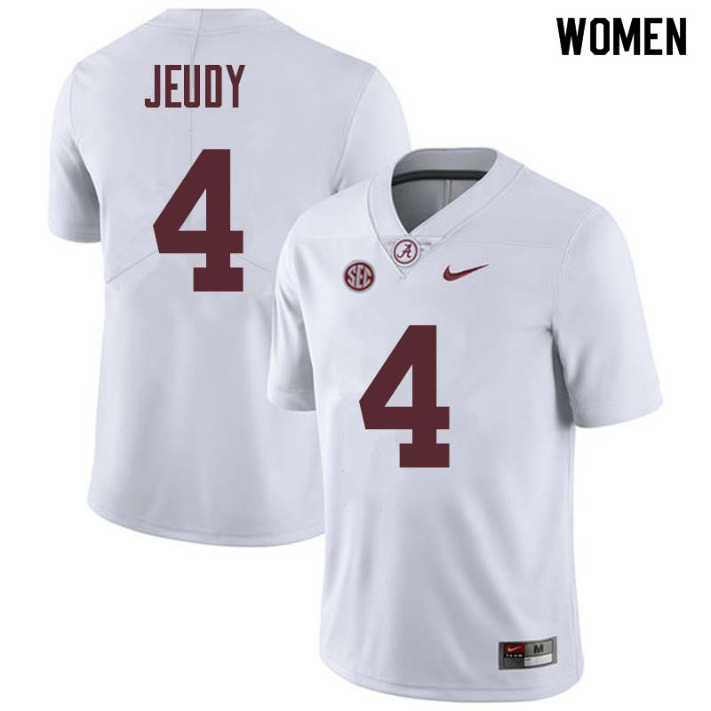 Women #4 Jerry Jeudy Alabama Crimson Tide College Football Jerseys Sale-White