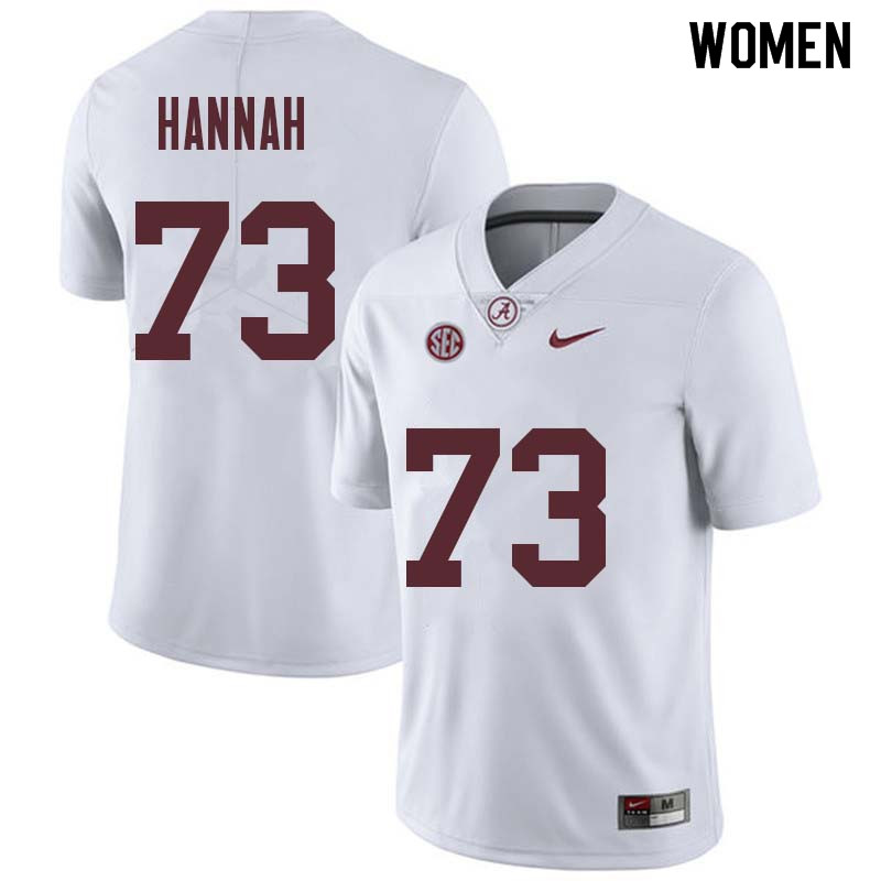 Women #73 John Hannah Alabama Crimson Tide College Football Jerseys Sale-White