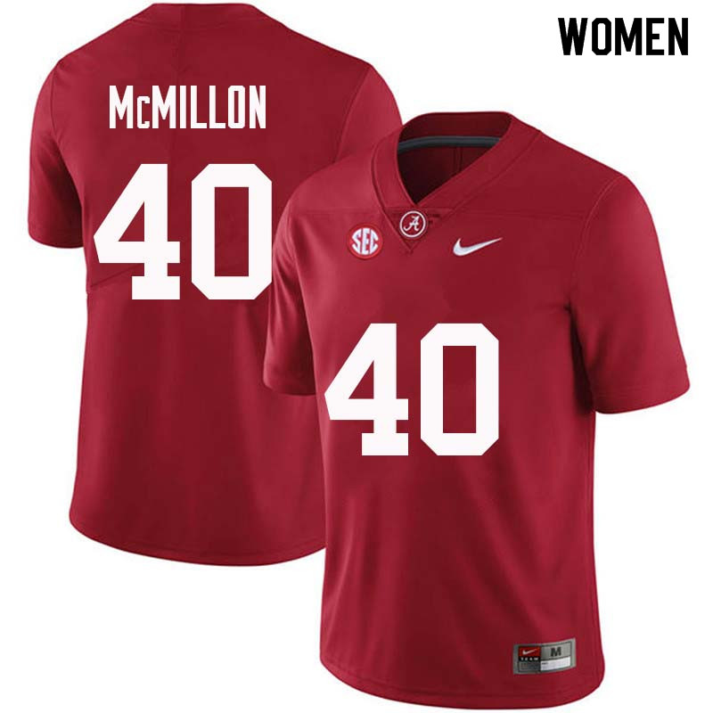 Women #40 Joshua McMillon Alabama Crimson Tide College Football Jerseys Sale-Crimson