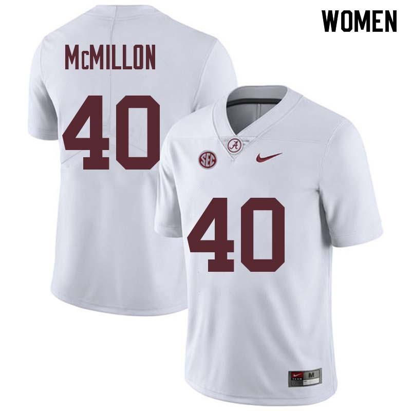 Women #40 Joshua McMillon Alabama Crimson Tide College Football Jerseys Sale-White