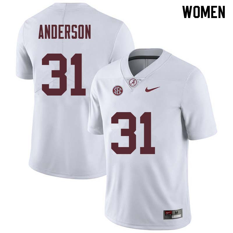 Women #31 Keaton Anderson Alabama Crimson Tide College Football Jerseys Sale-White