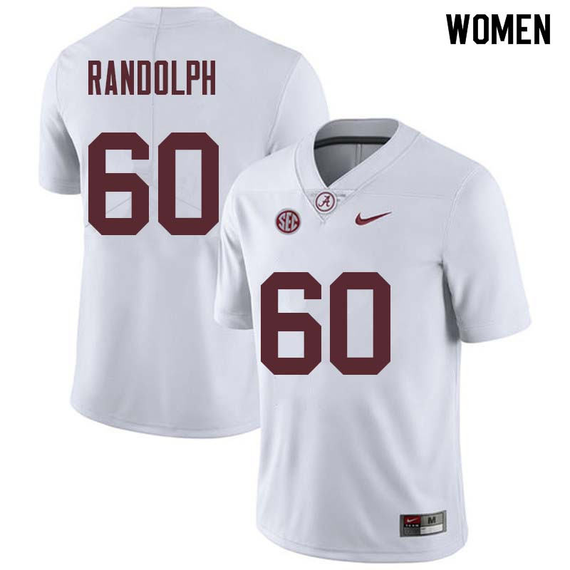 Women #60 Kendall Randolph Alabama Crimson Tide College Football Jerseys Sale-White