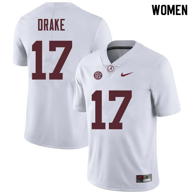Women #17 Kenyan Drake Alabama Crimson Tide College Football Jerseys Sale-White