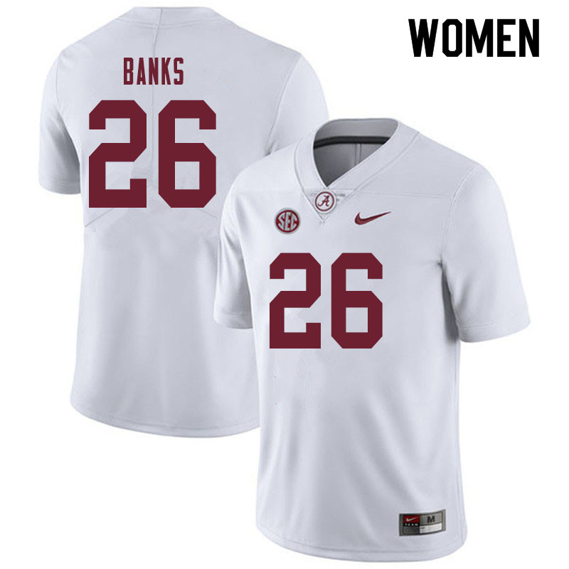 Women #26 Marcus Banks Alabama Crimson Tide College Football Jerseys Sale-White