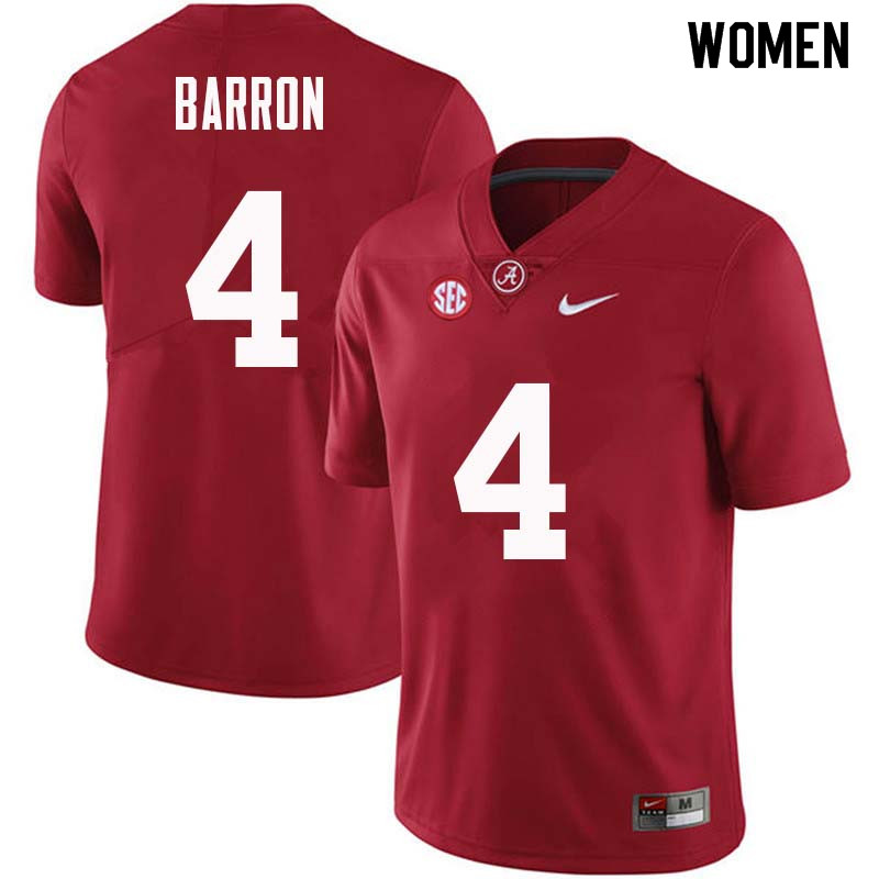 Women #4 Mark Barron Alabama Crimson Tide College Football Jerseys Sale-Crimson