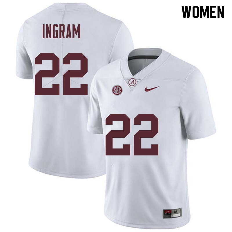 Women #22 Mark Ingram Alabama Crimson Tide College Football Jerseys Sale-White