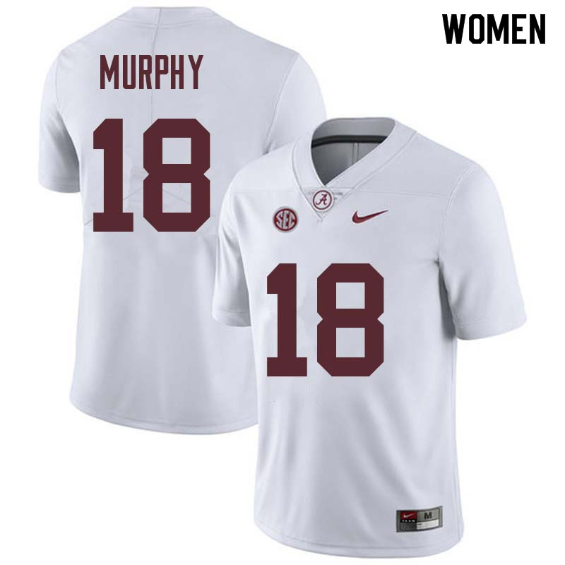 Women #18 Montana Murphy Alabama Crimson Tide College Football Jerseys Sale-White