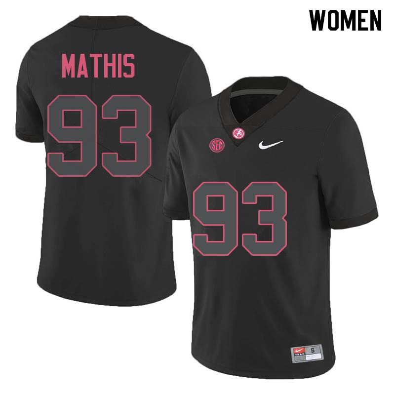 Women #93 Phidarian Mathis Alabama Crimson Tide College Football Jerseys Sale-Black
