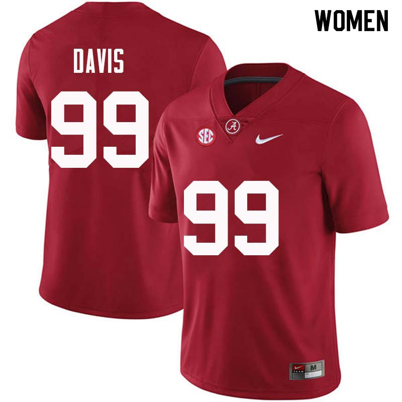 Women #99 Raekwon Davis Alabama Crimson Tide College Football Jerseys Sale-Crimson