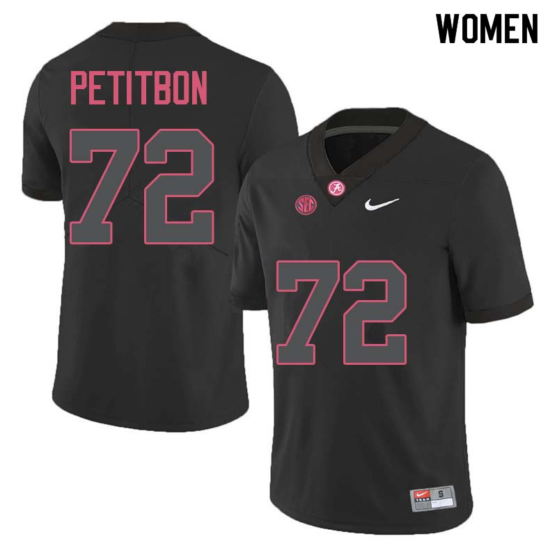 Women #72 Richie Petitbon Alabama Crimson Tide College Football Jerseys Sale-Black