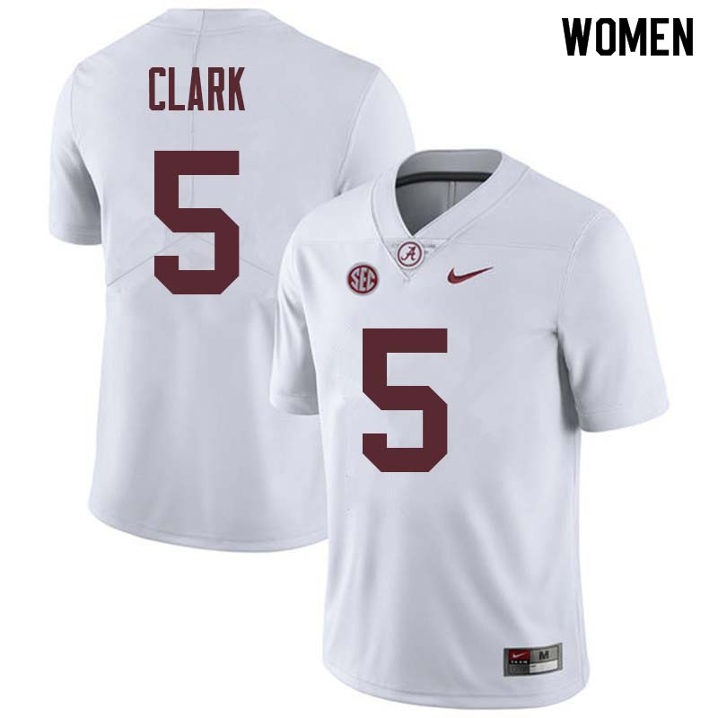 Women #5 Ronnie Clark Alabama Crimson Tide College Football Jerseys Sale-White