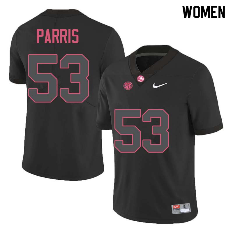 Women #53 Ryan Parris Alabama Crimson Tide College Football Jerseys Sale-Black
