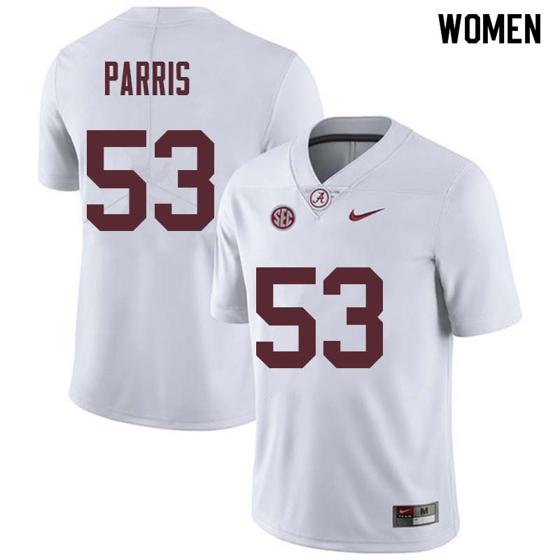 Women #53 Ryan Parris Alabama Crimson Tide College Football Jerseys Sale-White
