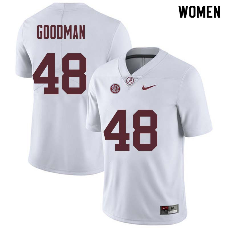 Women #48 Sean Goodman Alabama Crimson Tide College Football Jerseys Sale-White