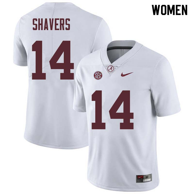 Women #14 Tyrell Shavers Alabama Crimson Tide College Football Jerseys Sale-White