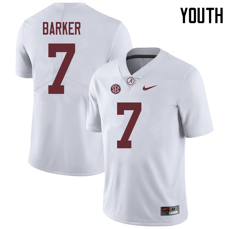 Youth #7 Braxton Barker Alabama Crimson Tide College Football Jerseys Sale-White