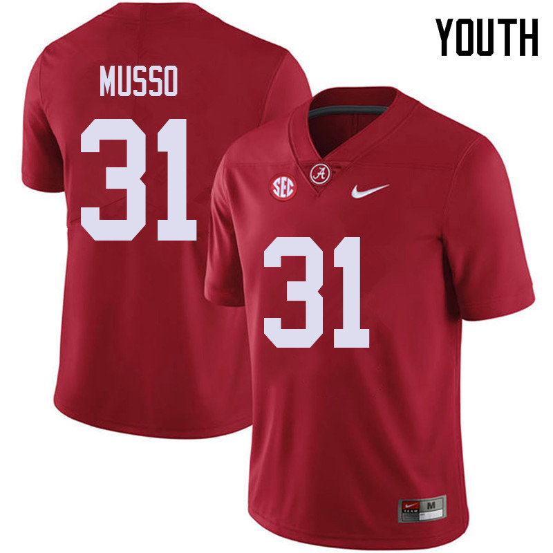 Youth #31 Bryce Musso Alabama Crimson Tide College Football Jerseys Sale-Red