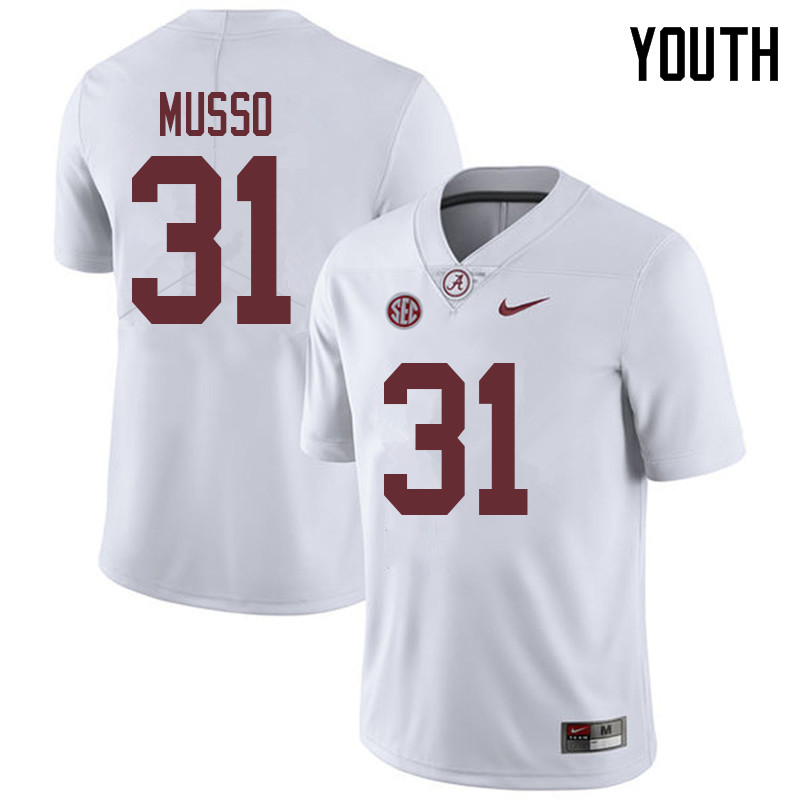 Youth #31 Bryce Musso Alabama Crimson Tide College Football Jerseys Sale-White
