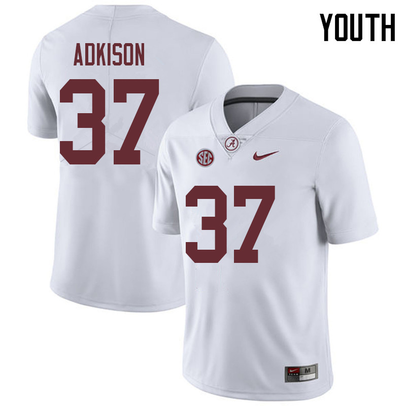 Youth #37 Dalton Adkison Alabama Crimson Tide College Football Jerseys Sale-White
